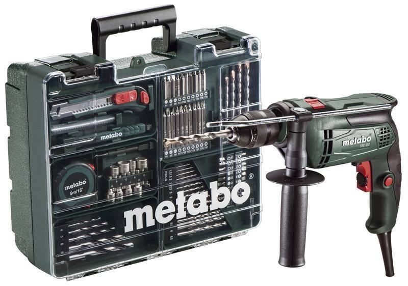 Metabo Elektrická příklepová vrtačka SBE 650 MD + 79ks příslušenství