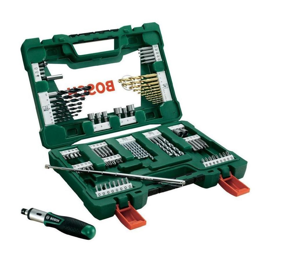 Bosch Sada Bosch 91 dílná TiN šroubovacích bitů a vrtáků s ráčnou a magn. teleskopem
