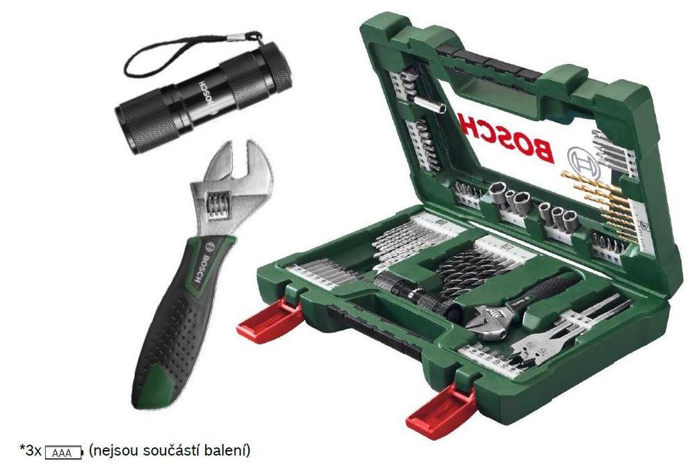 Bosch Sada Bosch 83 dílná TiN šroubovacích bitů a vrtáků se svítilnou a francouzským klíčem