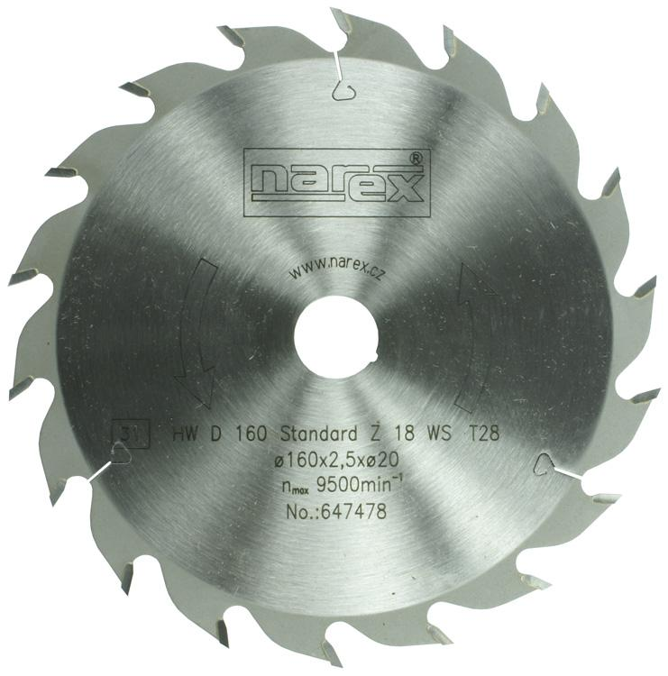 Narex Pilový kotouč Standard 160x2,5x20 18WZ