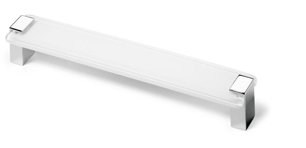 Hettich Úchytka Itala, rozteč vrtání 64 mm, akryl bílý čirý / chromovaná lesklá