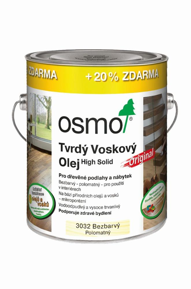 Osmo Tvrdý voskový olej Original - 3,0l bezbarvý - hedvábný polomat 3032 - !