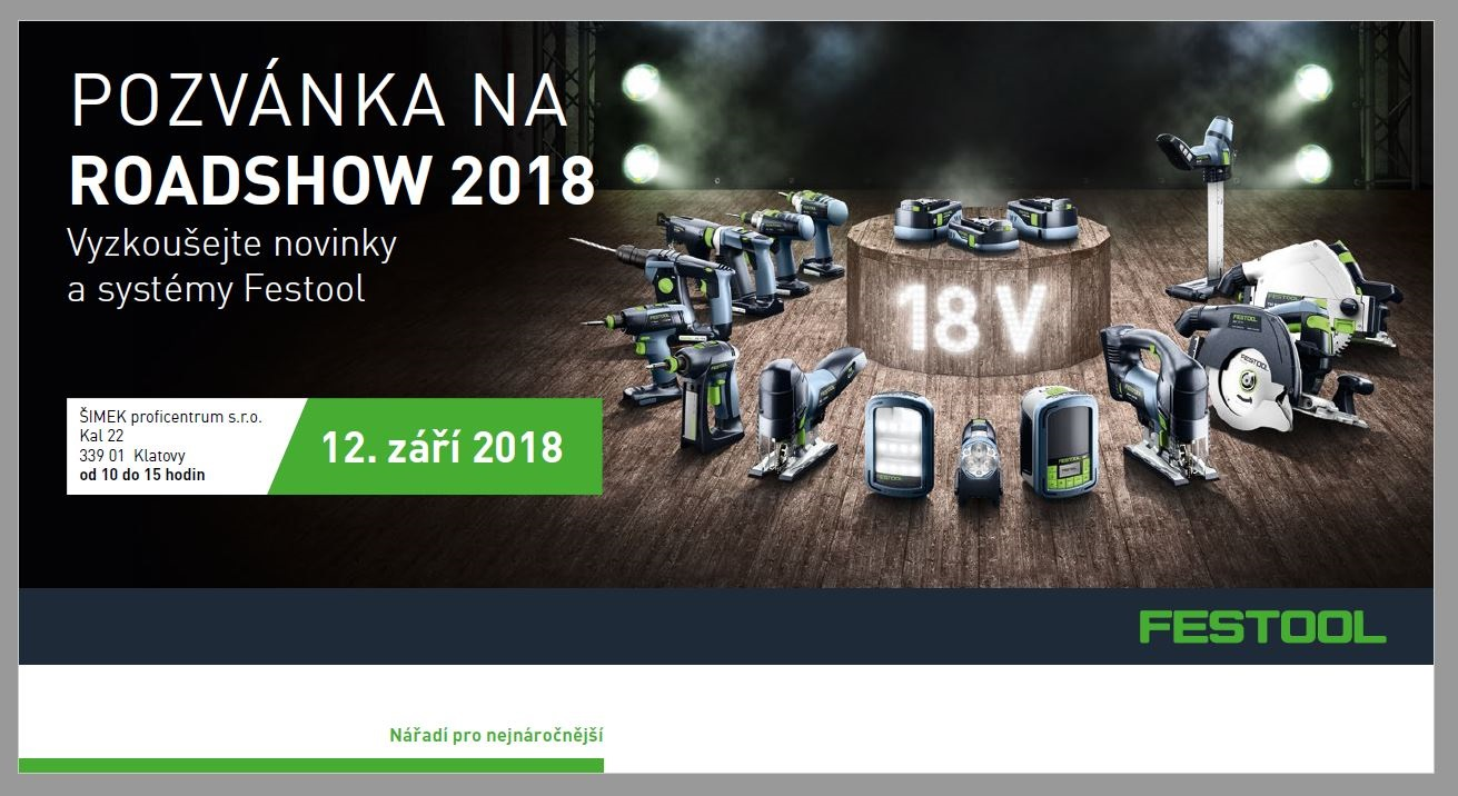 FESTOOL roadshow 2018 Klatovy
